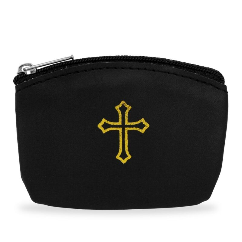 Rosary Small Black Pouch Gold Cross Design and Zipper