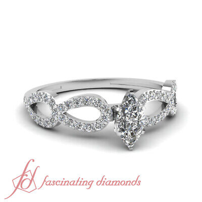Infinity Pave Set Engagement Ring 0.75 Ct Marquise Cut SI2-E Color Diamond GIA