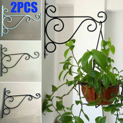 Garden Flower Pot Hanger Wall Hanging Rack Iron Holder Plant Bracket Metal Hook