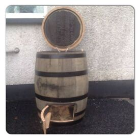 Oak whiskey barrel coal bunker garden patio