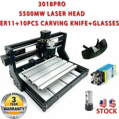 Diy Cnc 3018pro Router Kit Pcb Milling Engraving Machineer115500mw Laser Head