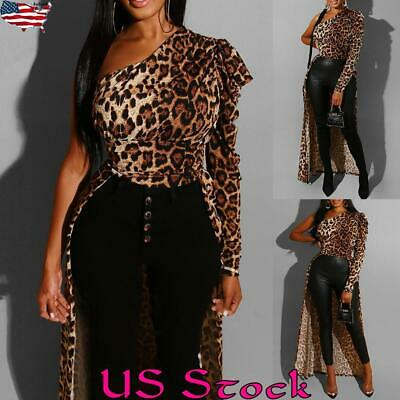 Women Casual Ruffle Leopard Print Long Tops Slim Blouse T Shirt Tee Loose Hem US Ruffle Print Tee