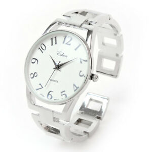 Silver Square Links Style Band Fashion Women's Bangle Cuff Watch