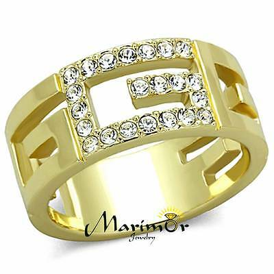 STAINLESS STEEL 316L14K GOLD ION PLATED LETTER G CRYSTAL FASHION RING SIZE 5-10 - Fashionable 14k Gold Letter