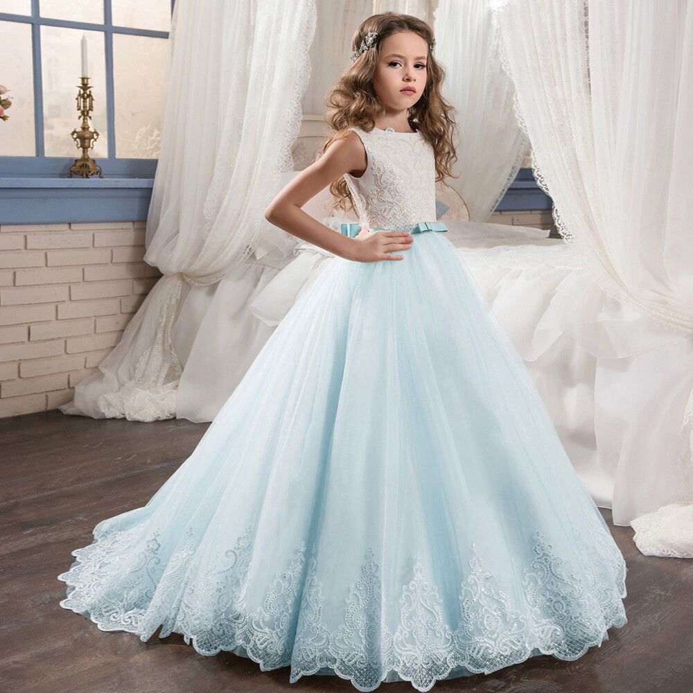 Details about Flower Girl Dress Prom Princess Pageant Communion Bridesmaid Wedding