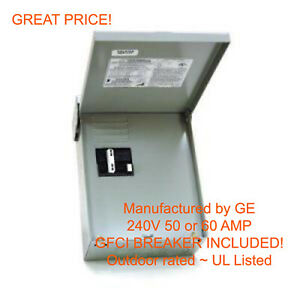 50 AMP GFCI GFI Spa Hot Tub Disconnect with outdoor box
