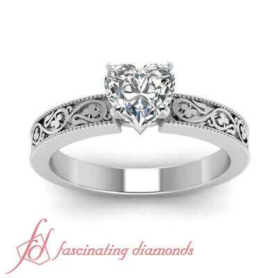Shamrock Carved Solitaire Engagement Ring 0.50 Ct Heart Shaped Diamond VS1 GIA 2