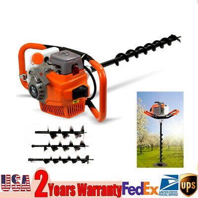 71cc Gas Powered Post Hole Digger Drill Bits 4 6 812 Bar Fence Earth Auger