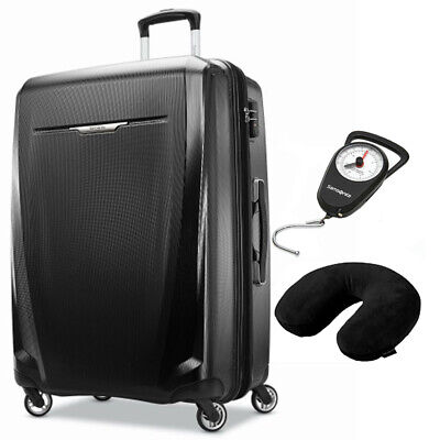 Samsonite Winfield 3 DLX Spinner 56/20 Carry-On Black + Scale & Pillow