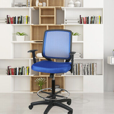 Mesh Mid Back Office Drafting Bar Chair Counter High Stools Swivel Home Blue