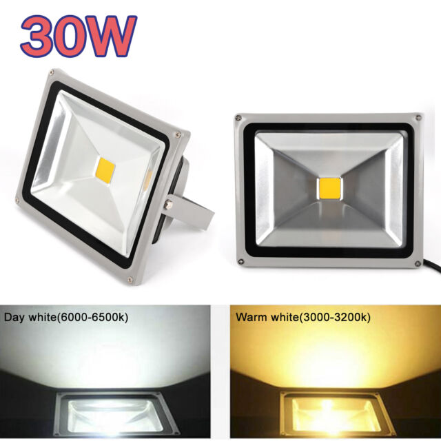 30W LED Flood light Cool White Garden IP65 Outdoor Landscape 90-240V Lamp
