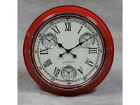 Red with White Face London Multi Dial Wall Clock