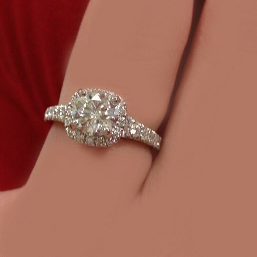 GIA Certified Diamond Engagement Ring 1.51 carat Cushion Shape 18K Gold
