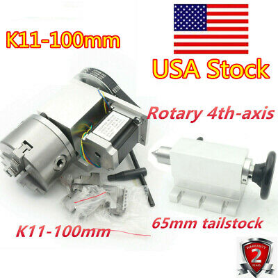 Cnc Router Rotary Table Rotation 4th A Axis 65mm 3 Jaw Chuck Wtailstock 7.3kg