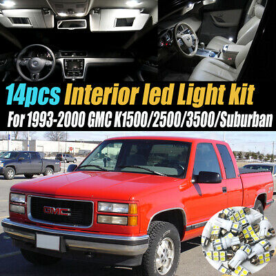 14Pc Car Interior LED White Light Bulb Kit 93-00 GMC K1500/2500/3500 Suburban