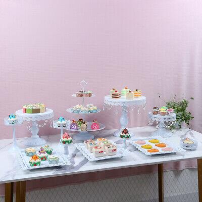 9pcs/Set Crystal White Metal Cake Stand Cupcake Tower Dessert Display Holder USA](Cupcake Displays)