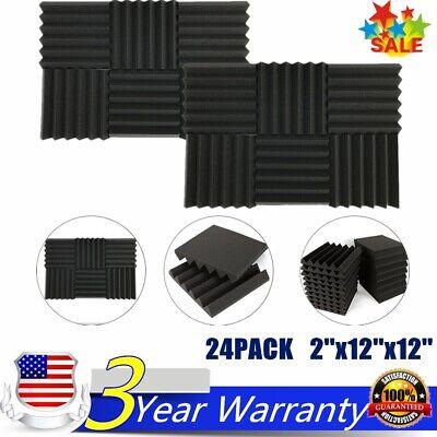 "24 Pack Acoustic Foam Panel Wedge Studio Soundproofing Sponge Tiles 12""X12""X2"""