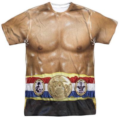 Authentic Rock Movie Champion Belt Costume Outfit Uniform Allover Front T-shirt