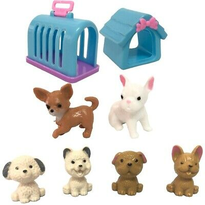 8 Items Set Doll Playmate Fashion Pets Dog Rabbit House Kennel For Barbie Dolls