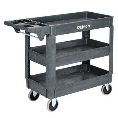 Plastic Utility 3 Shelves Rolling Service Cart Shop Office Warehouse Tray Us
