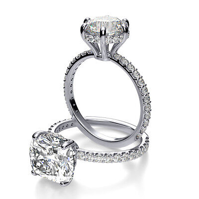2.00 Ct Cushion Cut Diamond Round Pave & U-Setting Engagement Ring  I,IF GIA 18K