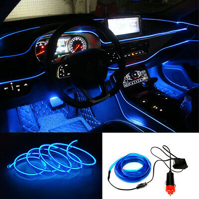 New 2M 12V Blue LED Light Glow EL Wire String Strip Rope Tube Car Interior - Tube Blue Glow