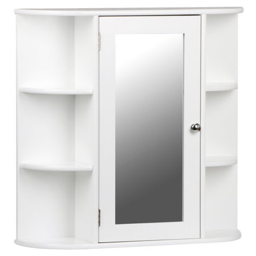 White Wooden Mirrored Bathroom Cabinet Wall Mounted Storage Shelves Cabinets New In Suffolk Ip1