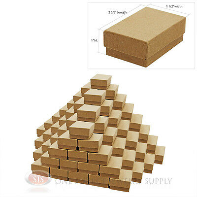 100 Brown Kraft Cotton Filled Jewelry Gift Boxes Charm Ring Box 2 58 X 1 12