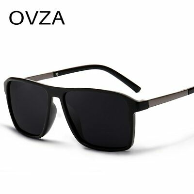 OVZA New Polarized Sunglasses Men Mirrored Driving Glasses Black Rectangle (Boys Polarized Sunglasses)