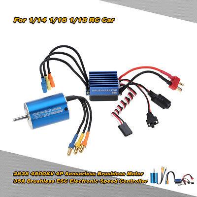 2838 4500KV 4P Motor & 35A Brushless ESC for 1/14 1/16 1/18 RC Car U8F2