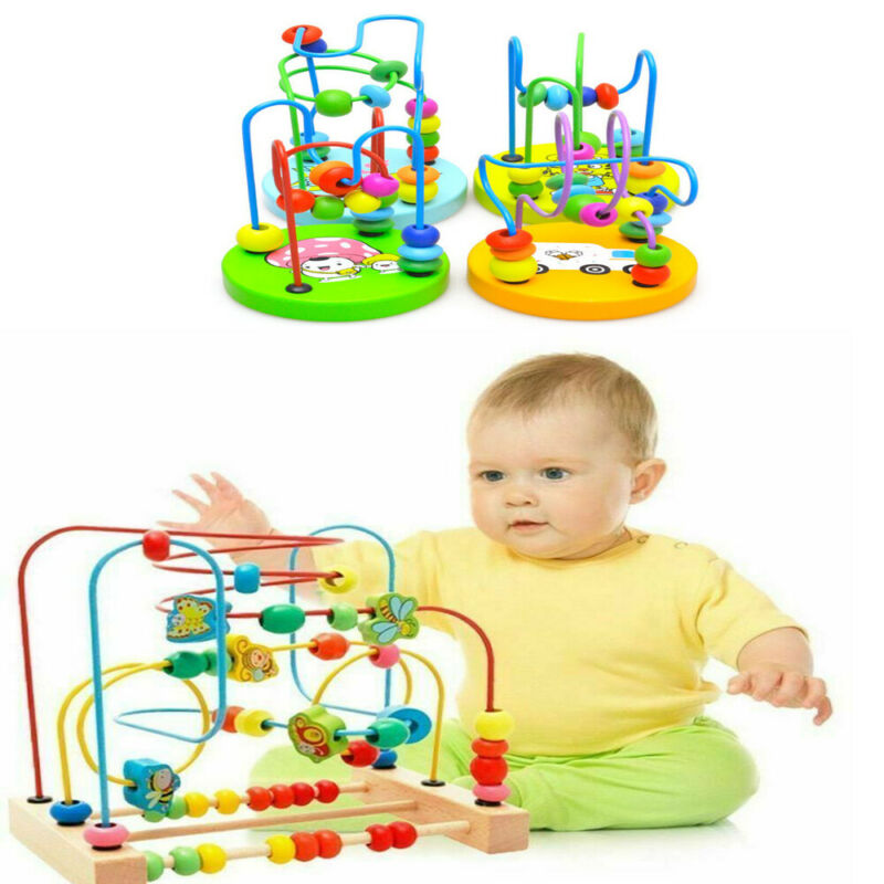 Kids Baby Wooden Beads Interactive Early Educational Puzzle Toys Kids Gifts