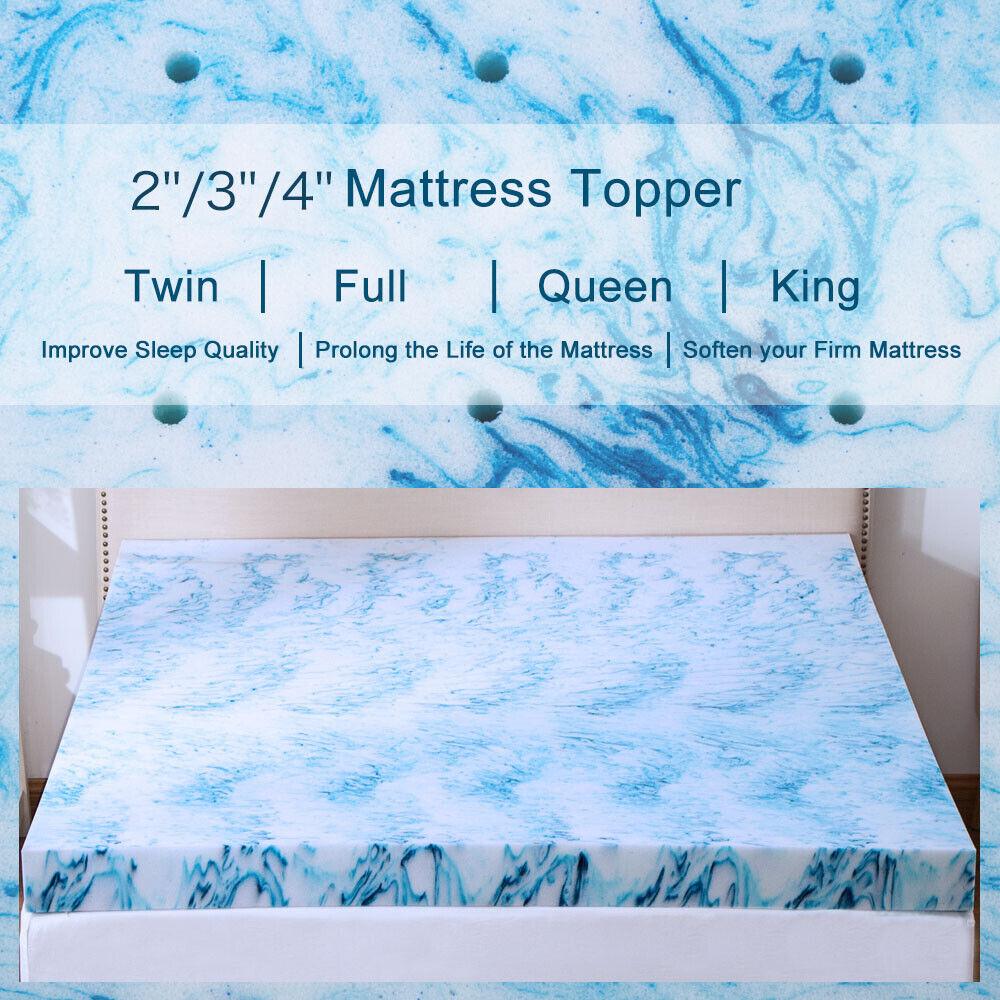 2 3 4 Inch Blue Swirl Memory Foam Mattress Topper Queen King