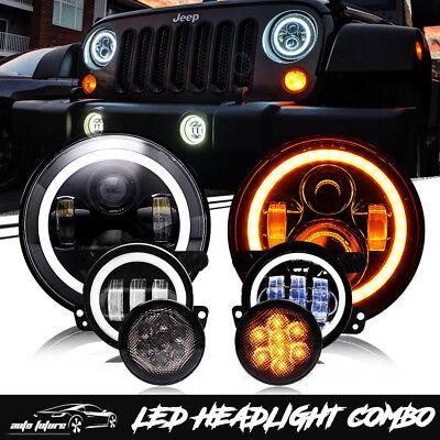 """For 07-18 Jeep Wrangler JK LED Headlight Fog Lamps Turn Signal Combo Kit 7"""""""