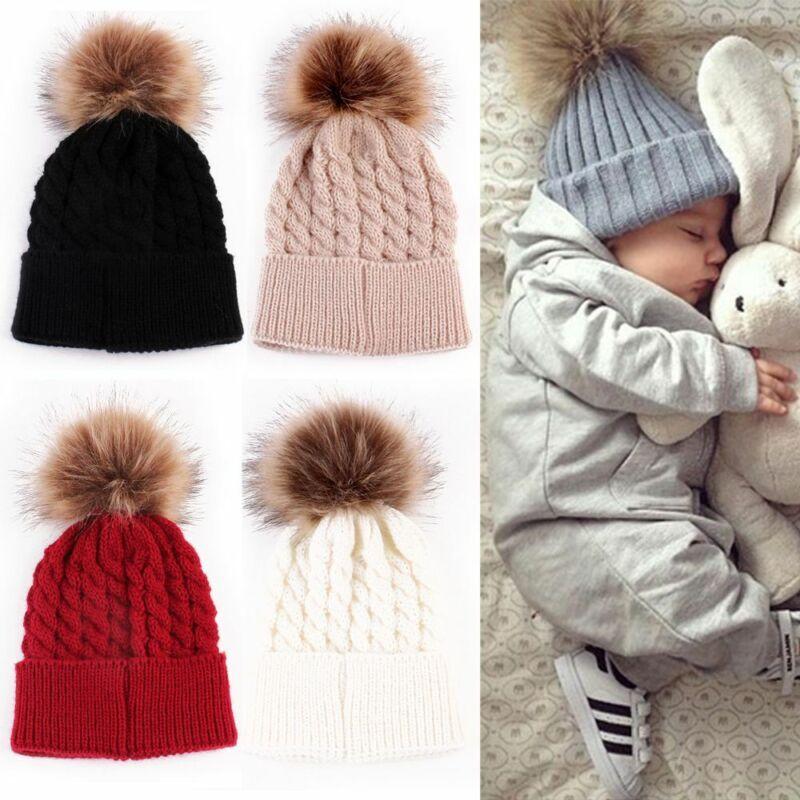 Fashion Boy Girl Fur Ball Wool Knitted Elastic Turban Hat Winter Warm Beanie Cap
