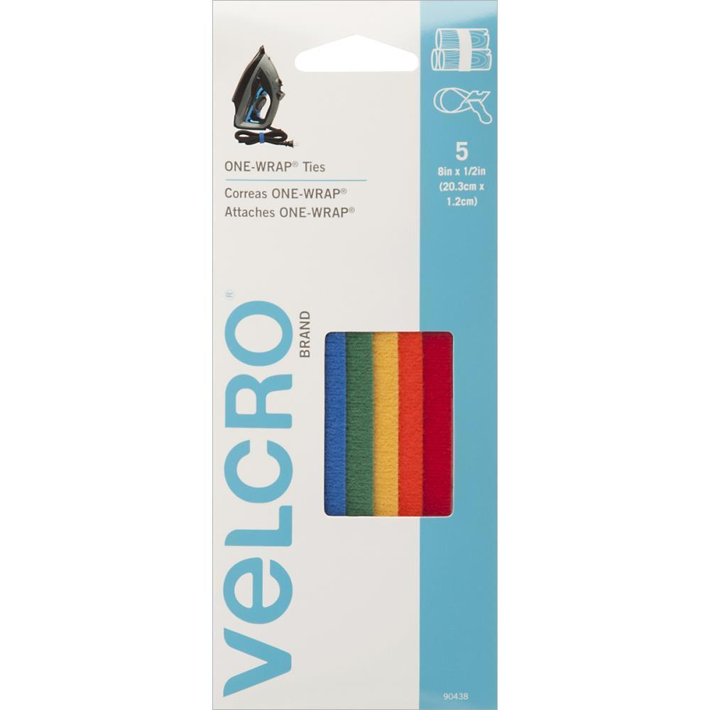 VELCRO One Wrap Ties Pk of 5 Multicolored 8 inch x 1/2 inch