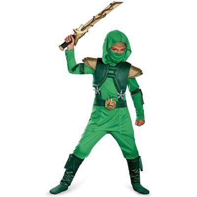 Shadow Green Master Ninja Deluxe Kids Halloween Costume, Boys Medium (7-8)