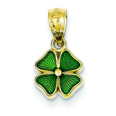 14K Yellow Gold Enameled Green 4-Leaf Clover Charm Pendant MSRP $104 14k Enameled Clover Charm