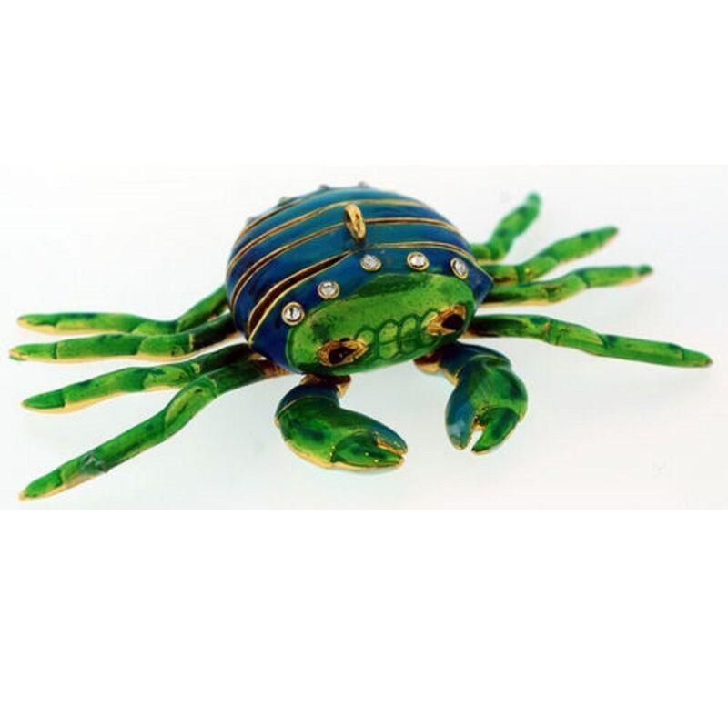 Blue and Green Crab Bejeweled Articulated Cloisonne Metal Christmas Ornament