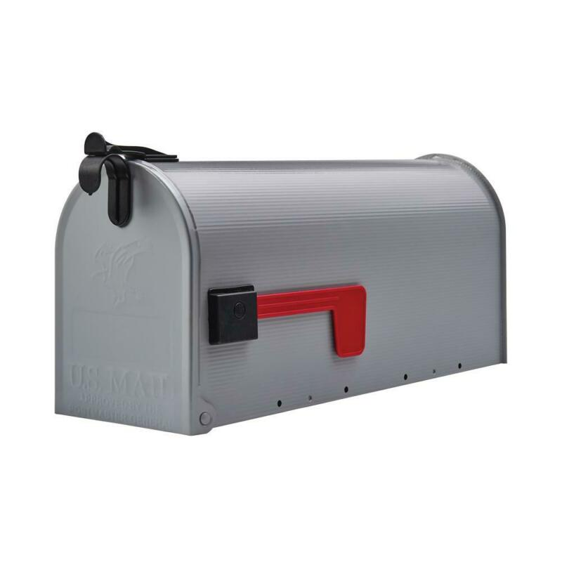 Gray Post Mount Mailbox Medium Steel Heavy Duty Curbside Storage Box Gibraltar