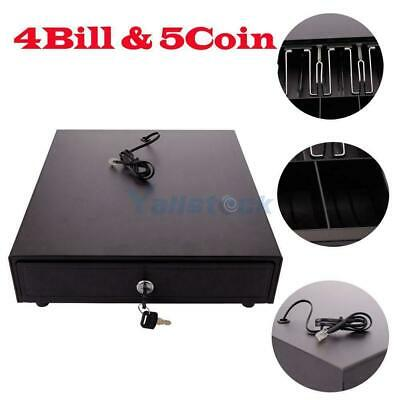 Cash Drawer Safe Box 4 Bill 5 Coin Tray For Pos Printer Store Money Lock Storage