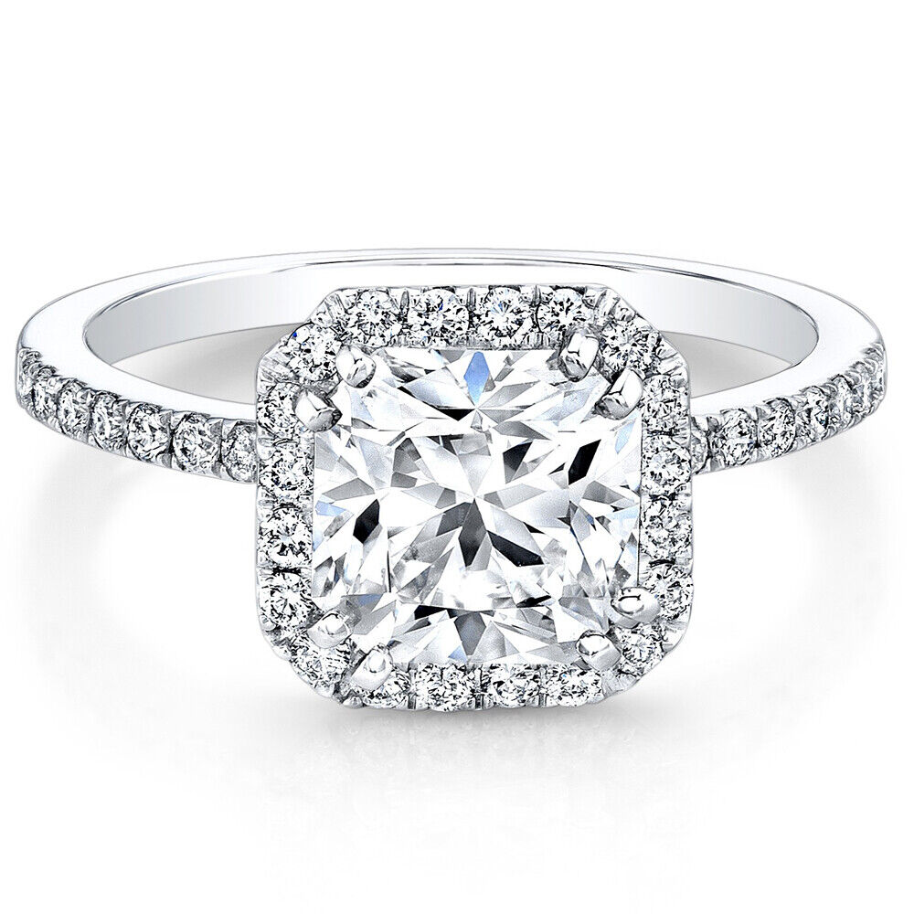 GIA Certified Diamond Engagement Ring 18k White Gold 1.67 Carat Cushion Cut