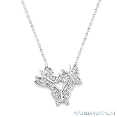 Triple-Butterfly CZ Crystal Charm Pendant 925 Sterling Silver w Rhodium Necklace ()