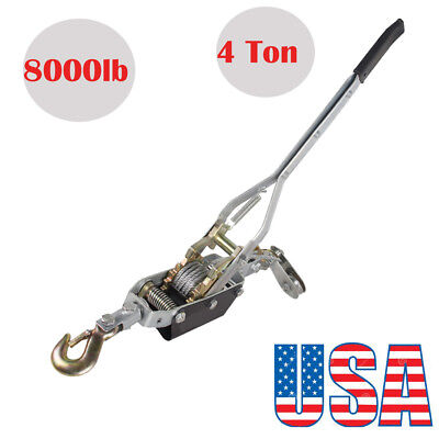 4 Ton 8000lb Come Along Hoist Ratcheting Cable Winch Hand Puller Crane Pulling