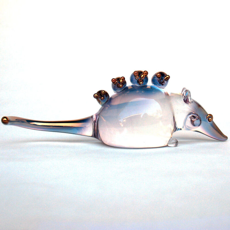 Opossum Mother and Family Figurine of Hand Blown Glass