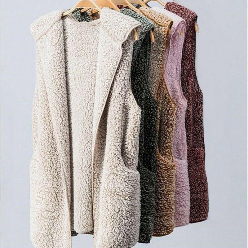 Womens Vest Winter Warm Hoodie Outwear Casual Coat Faux Fur