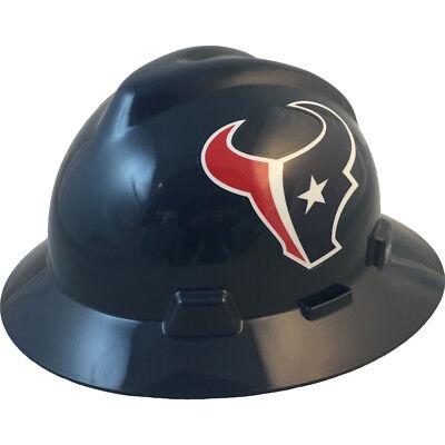 Msa V-gard Full Brim Houston Texans Nfl Hard Hat Type 3 Ratchet Suspension