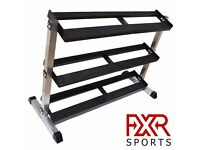 FXR SPORTS HEAVY DUTY 3 TIER STEEL HEX DUMBBELL STORAGE RACK HOLDER STAND
