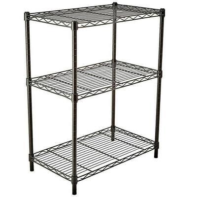 3 Layer Wire Shelving Rack Shelf Adjustable Unit Garage Kitchen Storage