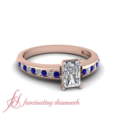 .65 Ct Radiant Cut Diamond And Blue Sapphire Engagement Rings For Ladies 14K GIA