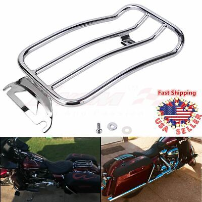 Solo Luggage Rack (Chrome Solo seat Luggage Rack For Harley Road King Street Glide FLH FLHR 1997-15 )